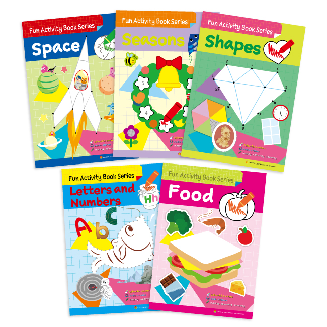 Fun Activity Book Series (5 books: Food, Seasons, Shapes, Space, Letters and Numbers)